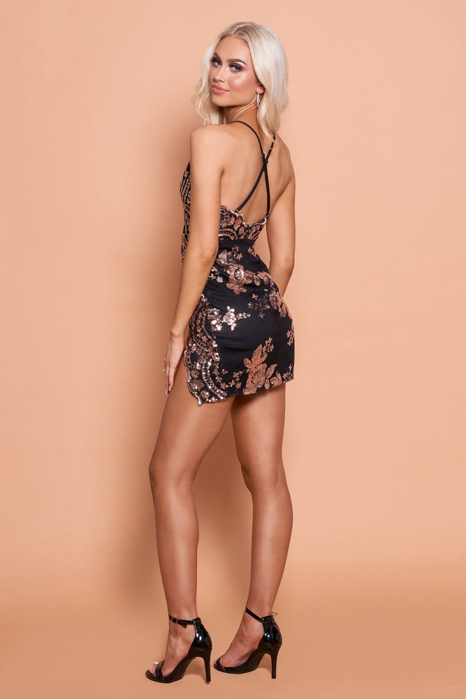 Lola Sequin Dress With Splits- Black
