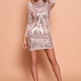 Mel Sequin Mesh Dress With Feather- Rose Gold