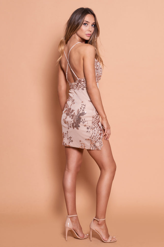 Lola Sequin Dress With Splits- Gold