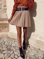 Faux Leather Pleated Skirt Nude