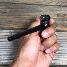"Load image into Gallery viewer, 4"" Hand-carved Ebony Wood Pipe Natural Wood"