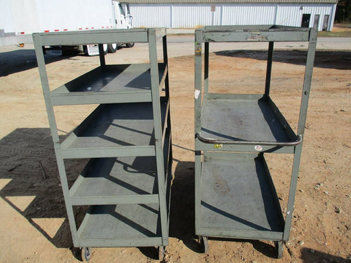 Heavy 4 Shelf Rolling Metal Inventory Cart