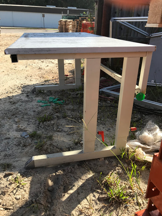 "Used Metal and Wood Craft Table Work Bench - 60"" X 29"" X 30"""