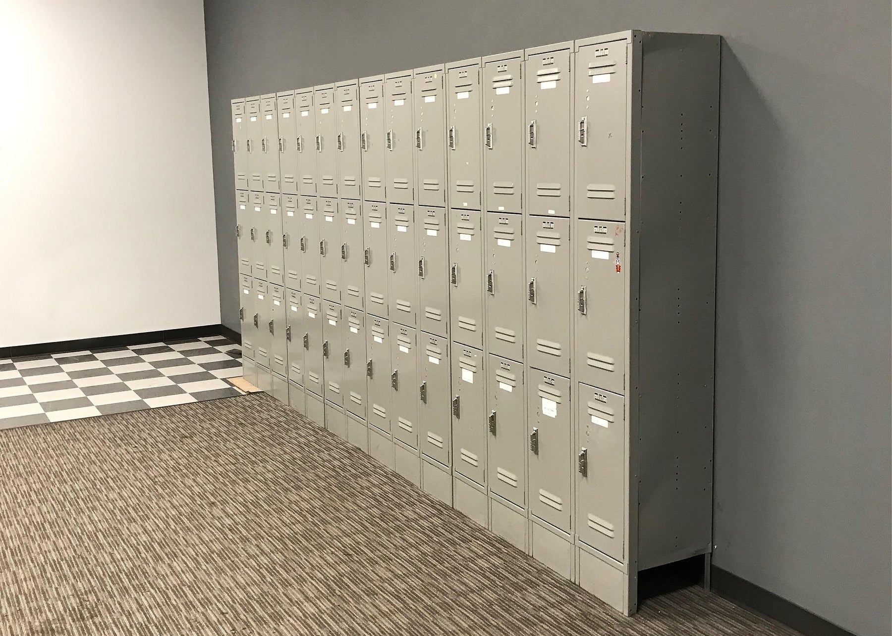 Used Lyon Brand Metal Locker Tower Set ( 3 Lockers Stacked)