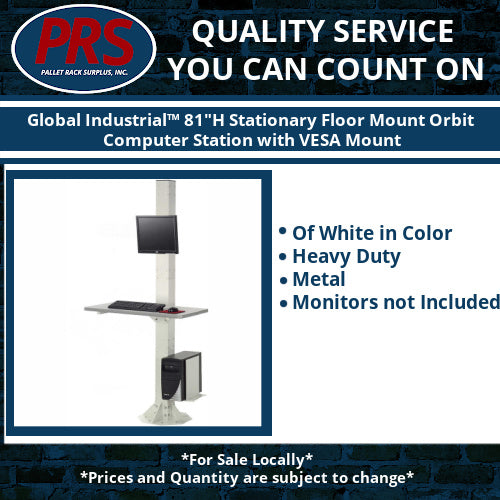 "Global Industrial™ 81""H Stationary Floor Mount Orbit Computer Station with VESA Mount"
