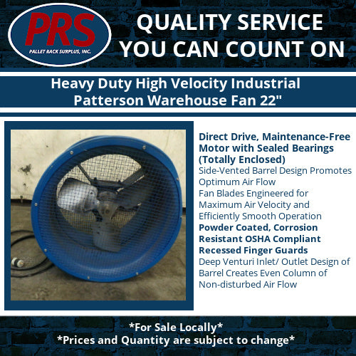 Heavy Duty High Velocity Industrial Patterson Warehouse Fan 22""