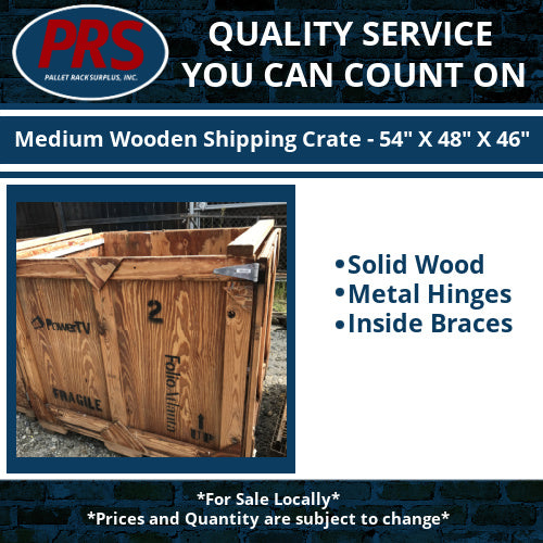 "Medium Wooden Shipping Crate - 54"" X 48"" X 46"""