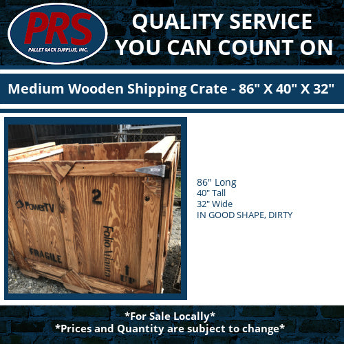 "Medium Wooden Shipping Crate - 86"" X 40"" X 32"""