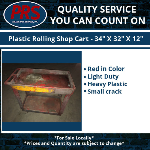 "Plastic Rolling Shop Cart - 34"" X 32"" X 12"""