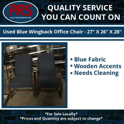 "Used Blue Wingback Office Chair - 27"" X 26"" X 28"""