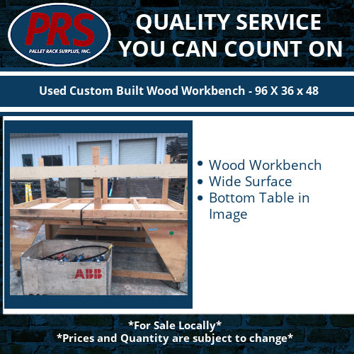 Used Custom Built Wood Workbench - 96 X 36 x 48