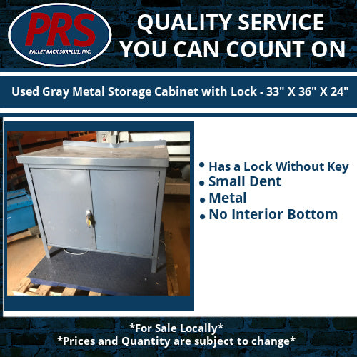 "Used Gray Metal Storage Cabinet with Lock - 33"" X 36"" X 24"""