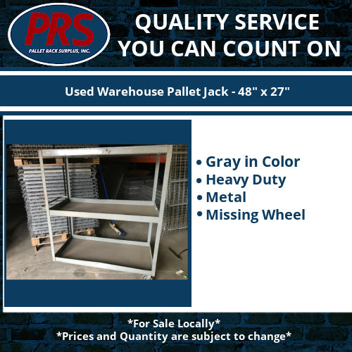 "Used Tall Gray Storage Cart - 29"" X 59"" X 49 - Missing Wheel"