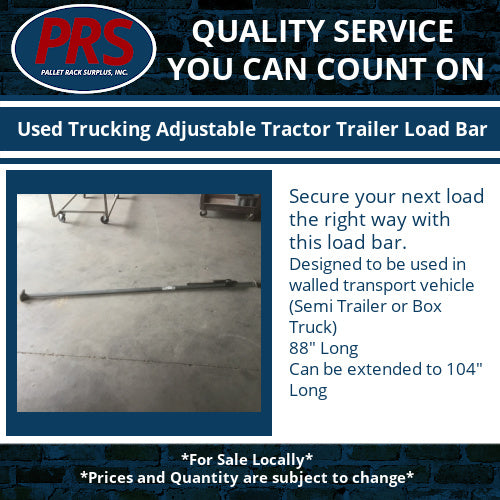 Used Trucking Adjustable Tractor Trailer Load Bar