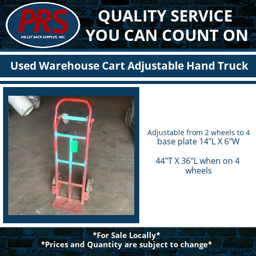 Used Warehouse Cart Adjustable Hand Truck