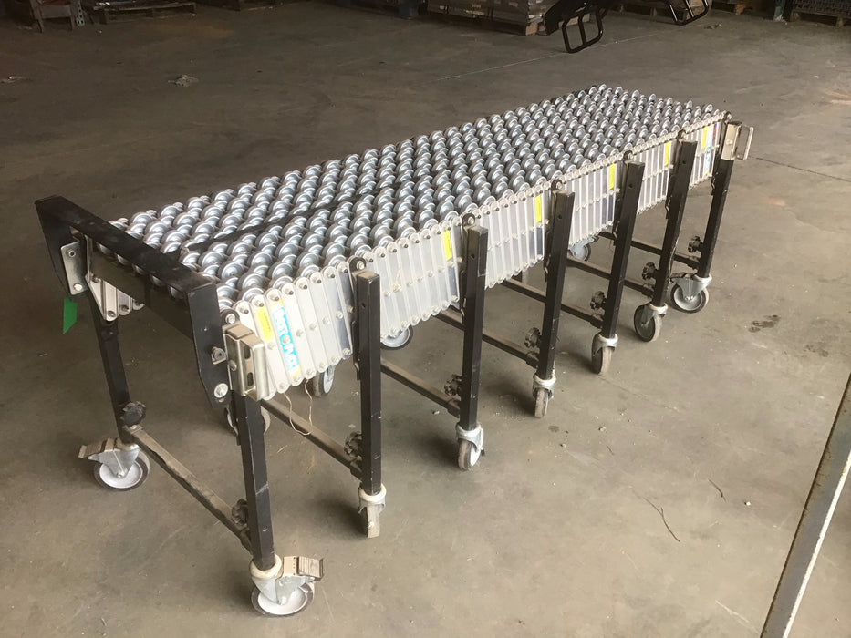 "Used Flexible Skate Wheel Rolling Conveyor - 20' X 29"" X 20"""