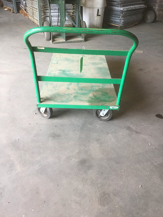 "Green Used Rolling Flatbed Warehouse Cart - 60"" X 12"" X 30"""