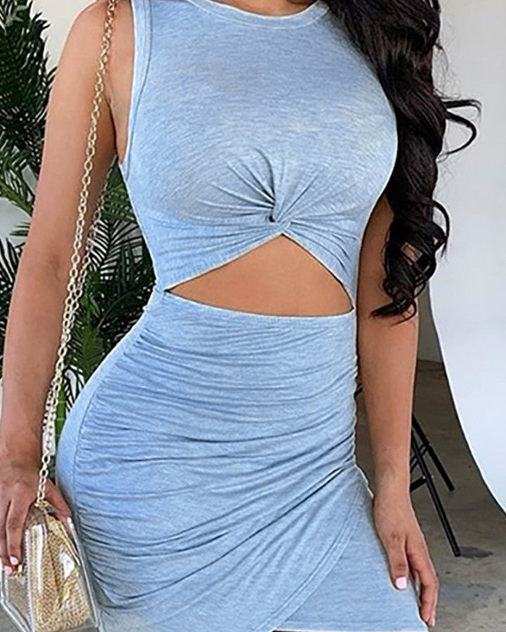 Cut Out Twisted Ruched Bodycon Dress