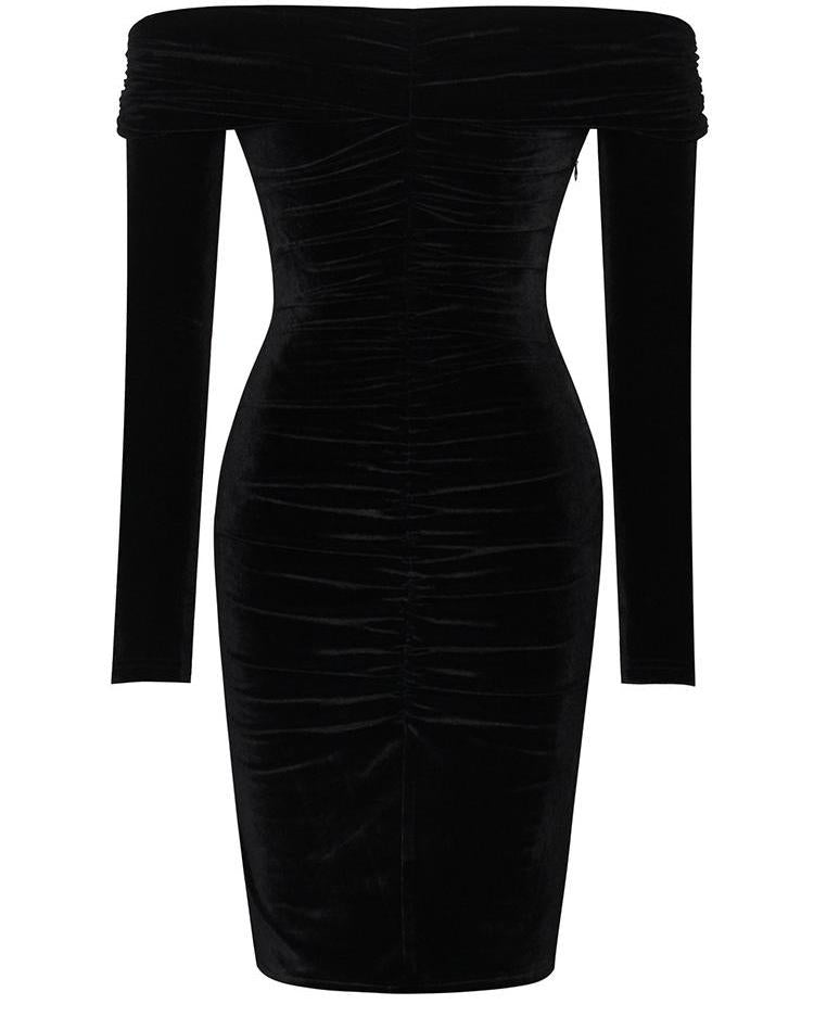 Velvet Off Shoulder Ruched Bodycon Dress