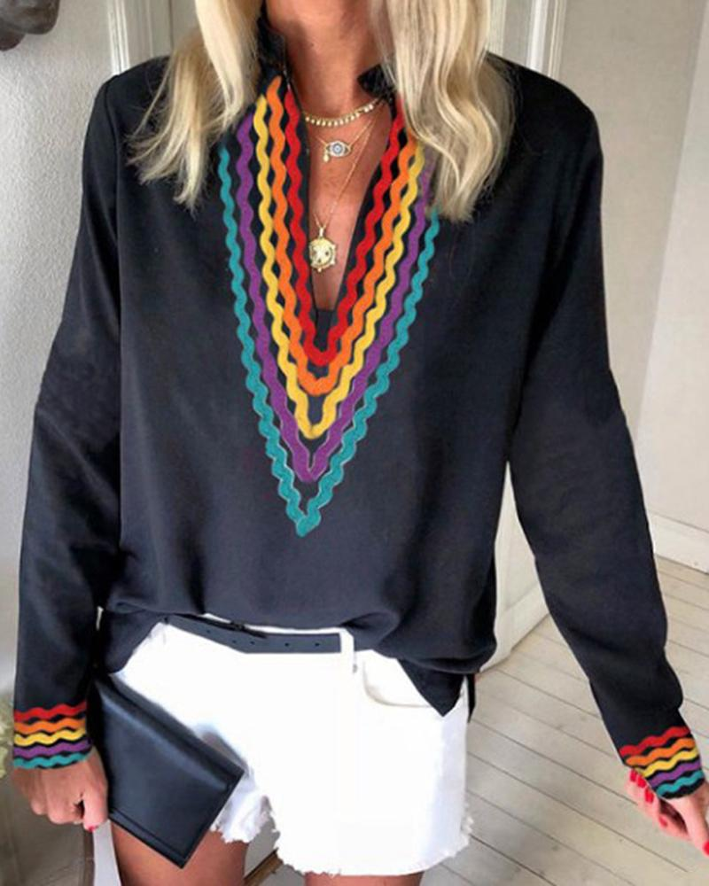 Ethnic Colorblock Long Sleeve Casual Blouse 8
