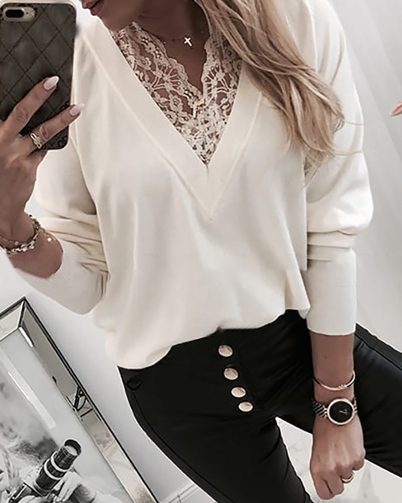 V Neck Lace Insert Long Sleeve Sweatshirt 1