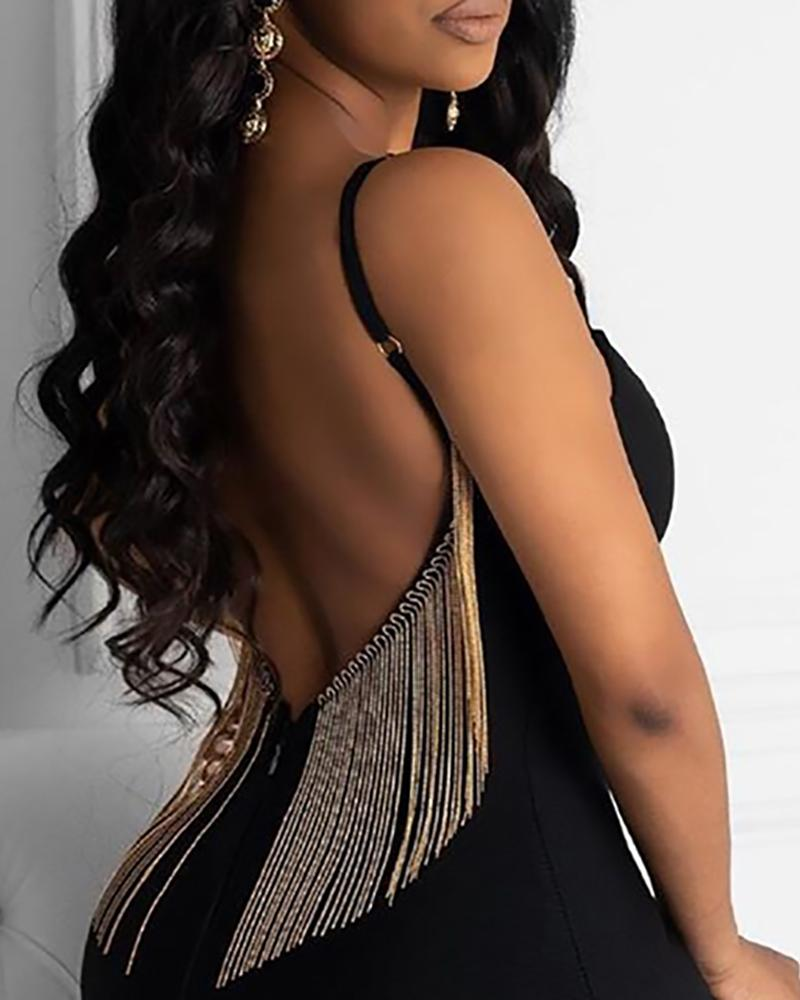 Tassel Sequins Backless Party Dress