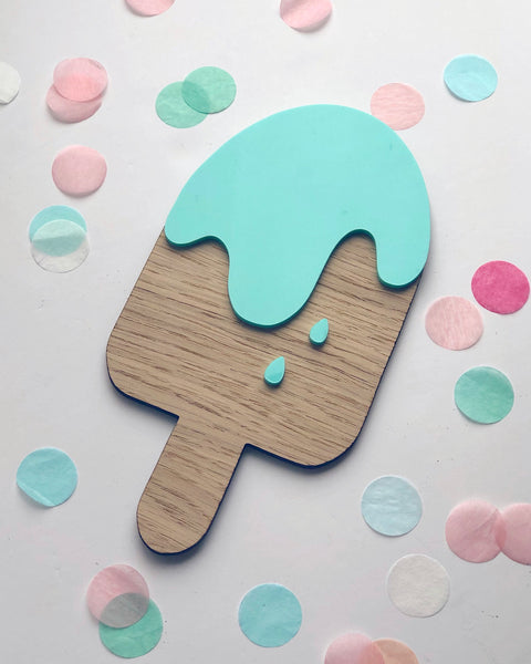 Wooden ice lolly wall decoration with mint green acrylic details