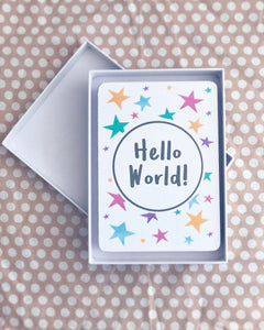 Milestone cards for babies in luxury box, hello world