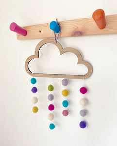 Wooden cloud with multicoloured felted pom poms