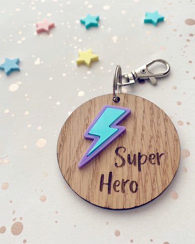 Wooden super hero key ring with lilac and mint lighning bolt