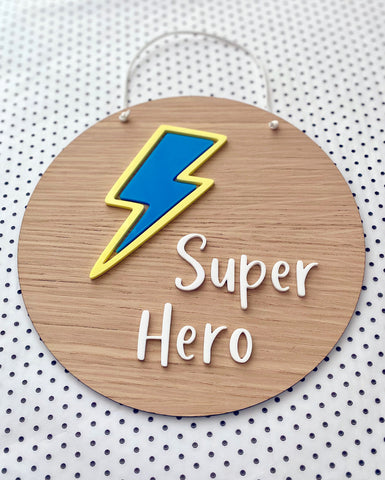 Super Hero plaque with blue and yellow lightning bolt