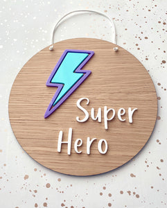 Super Hero plaque with lilac and mint green lightning bolt