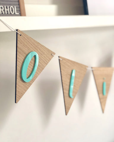 wooden laser cut personalised bunting