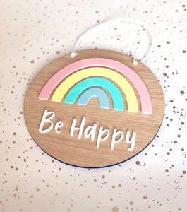 Be happy pastel rainbow circular plaque