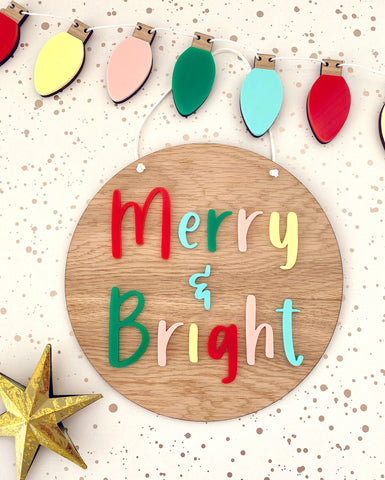 Merry and Bright Christmas Plaque
