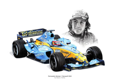 Fernando Alonso / Renault R24 Limited Edition Print