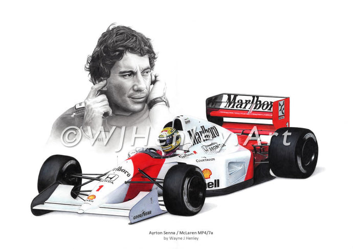 Ayrton Senna / McLaren mp4-7 Limited Edition Print