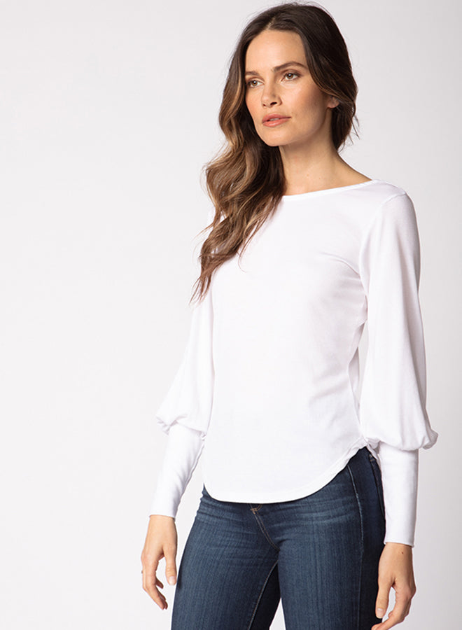 Low Back Blouson Sleeve Top