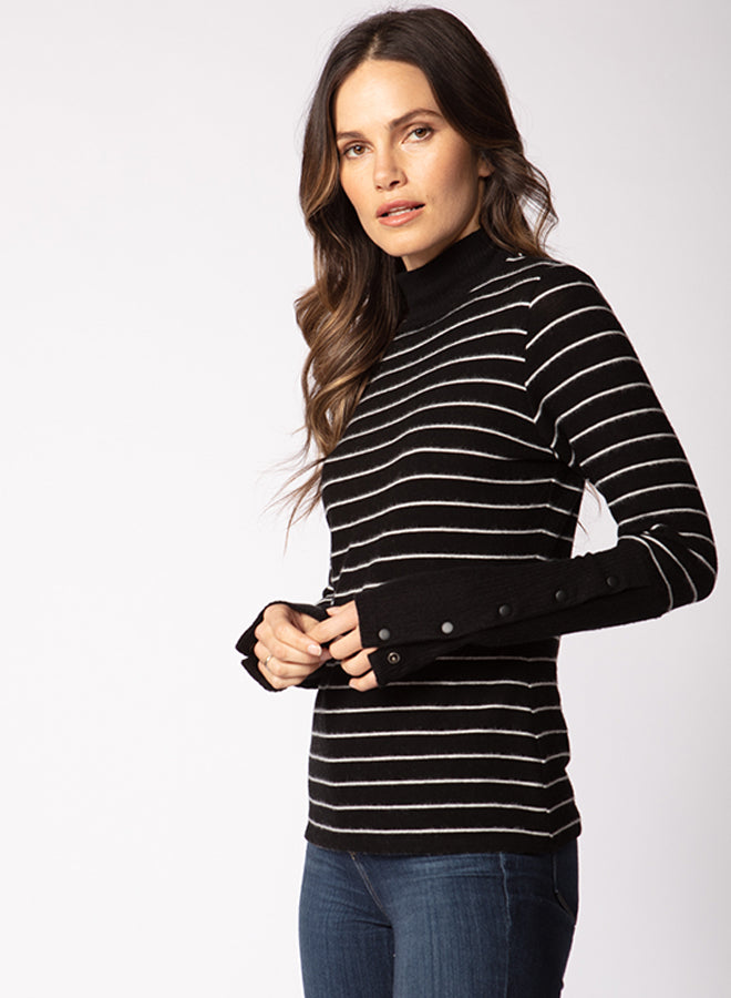 Snap Cuff Mock Neck Top