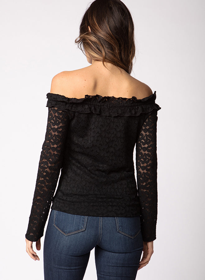 Lace Ruffle off Shoulder Top