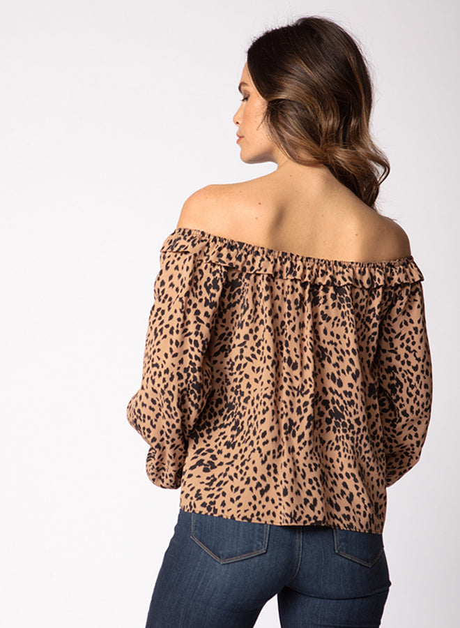 Animal Print off Shoulder Ruffle Top