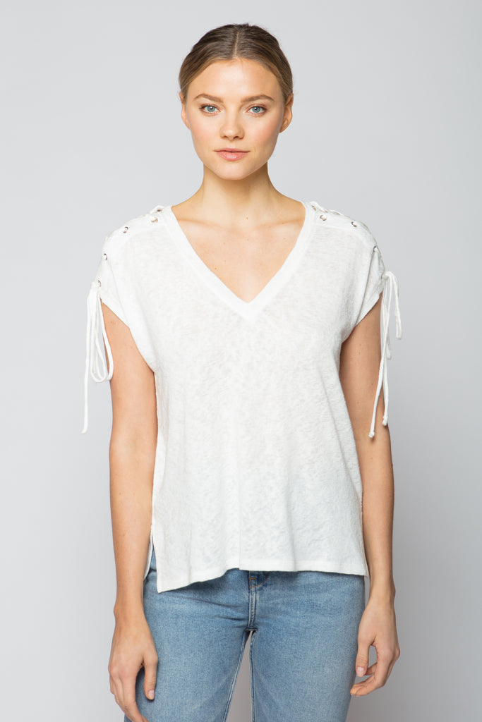 Shoulder Lace Up Tee