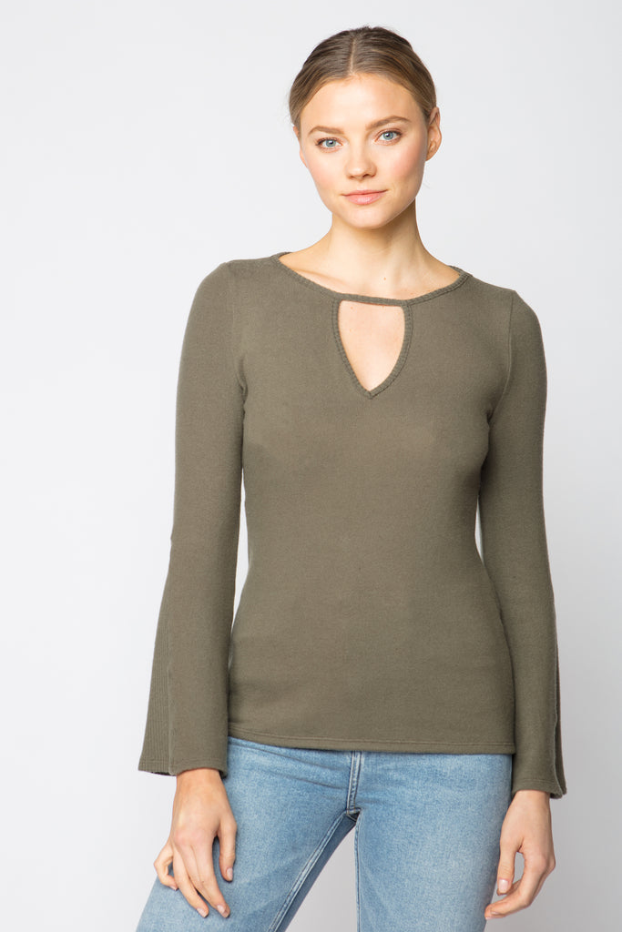 Bell Sleeve Keyhole Sweater Top