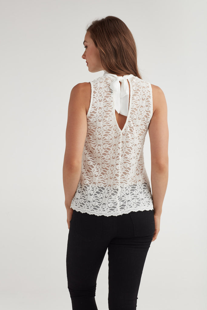Lace Tie neck Shell Tank