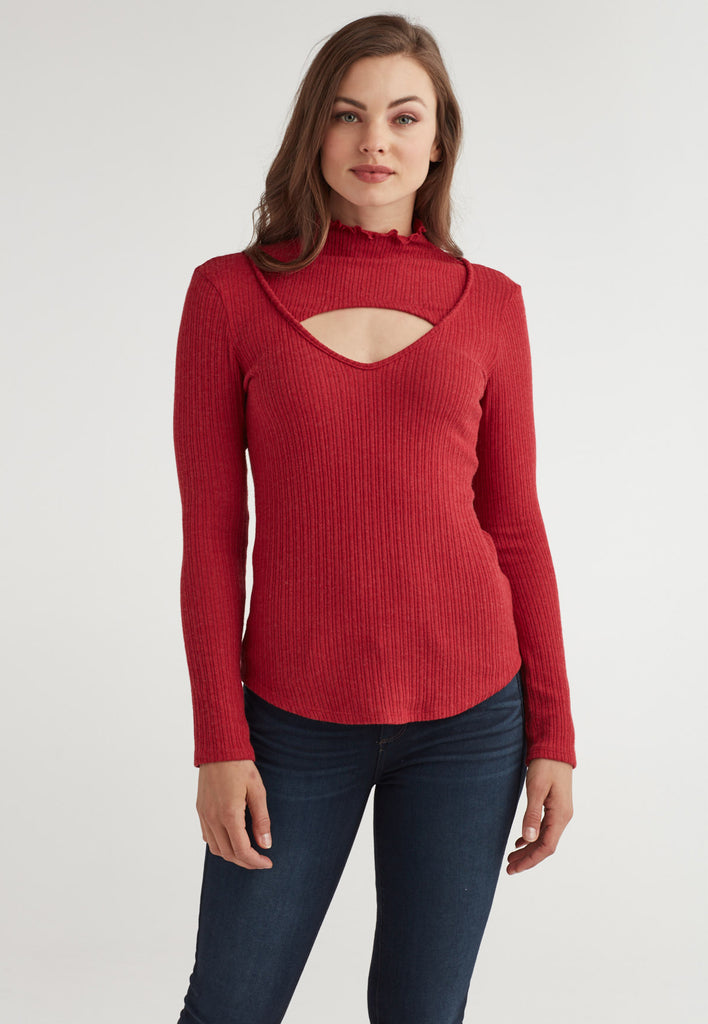 Cut Out Mock Neck