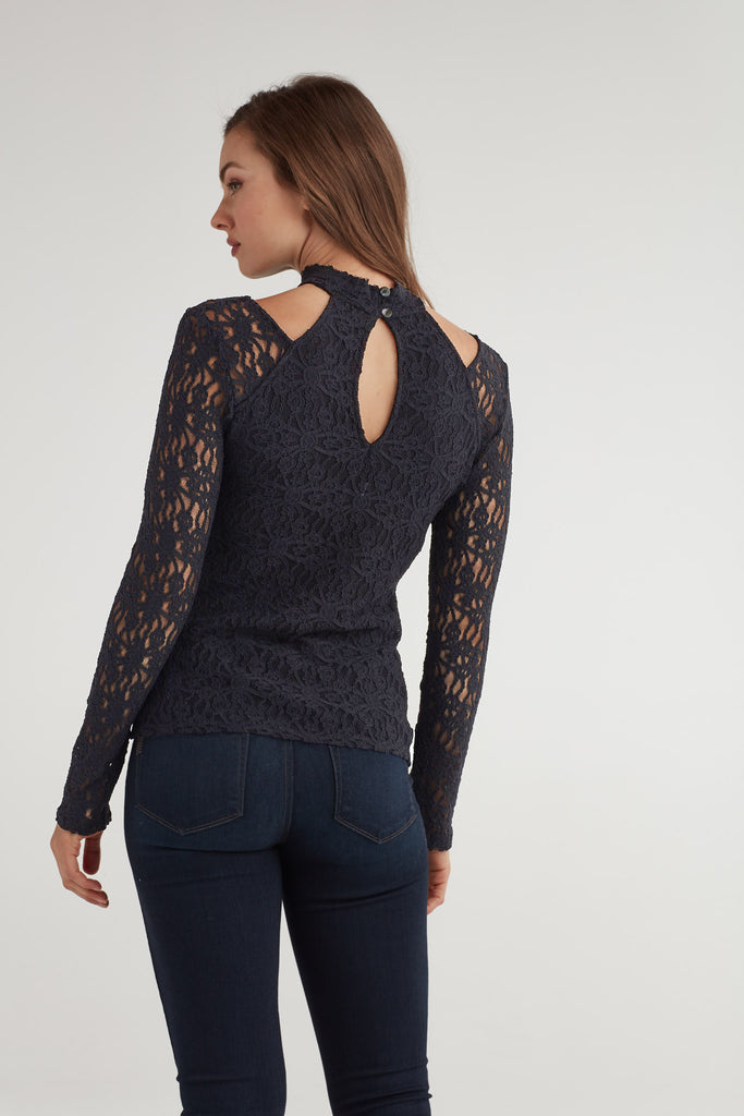 Lace Cut Out Neck Top
