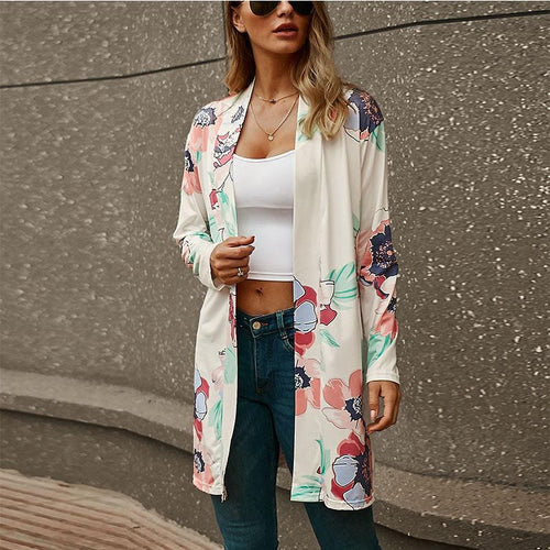 Long Sleeves Floral Print Cardigan