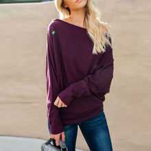 Load image into Gallery viewer, Open Shoulder  Plain  Batwing Sleeve T-Shirts