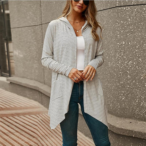 Stripe Long Section Long Sleeve Hooded Cardigan