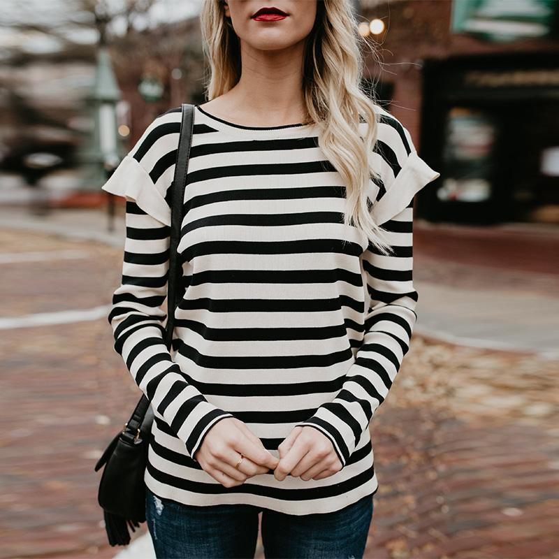 Round Neck  Striped T-Shirts